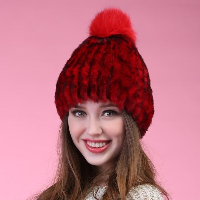 Caliente venta mujeres Beanie invierno hechos a mano rayas de piel de conejo Rex sombreros del sombrero de piel caliente suave lindo alta buena calidad de punto gorros