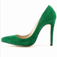 Plus Size Sapatos Femininos Fashion Women Faux Velvet High Heels Pointed Toe Pumps Lady Work Dance Wedding Party Shoes W816