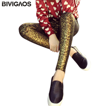 2018 New Fashion Cotton Shiny Gold Hot Stamping Gilding Leggings Pants Elastic Legging Outer Wear Pants Slim Leggings Women