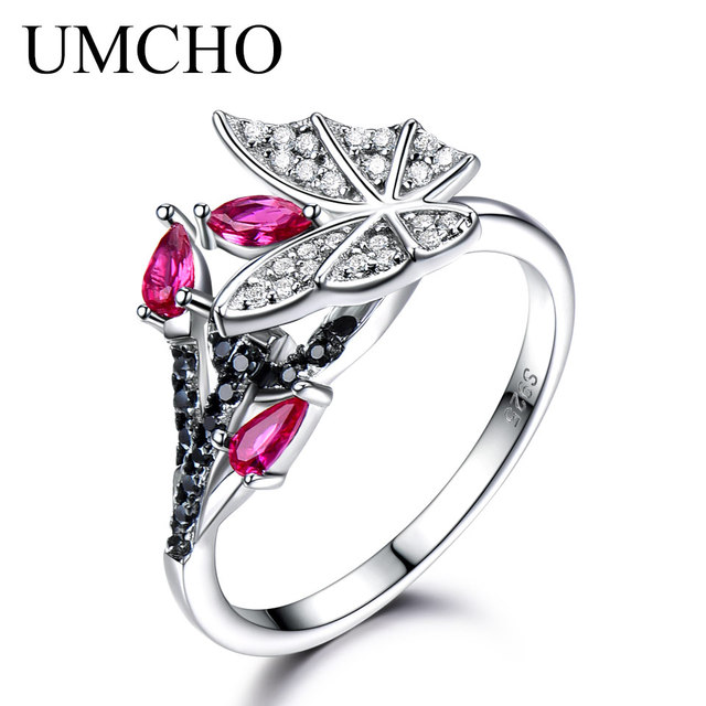 UMCHO Solid 925 Sterling Silver Rings For Women Natural Black Spinel Ruby Gemsto