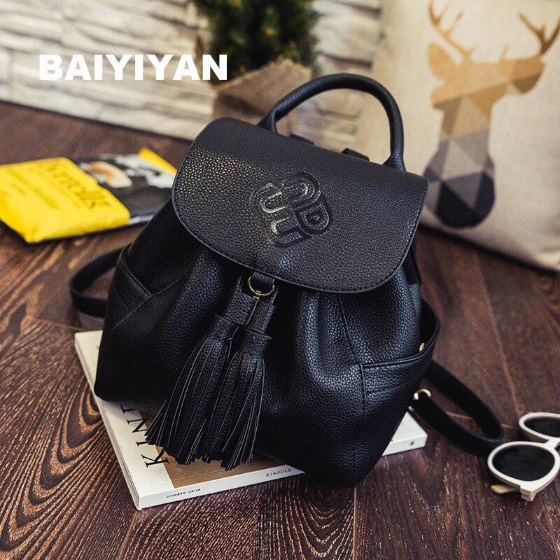 2017 New Women Leather Backpack PU Leather Vintage Tassel Fashion Backpack for Girls Preppy Style School Backpack mochila