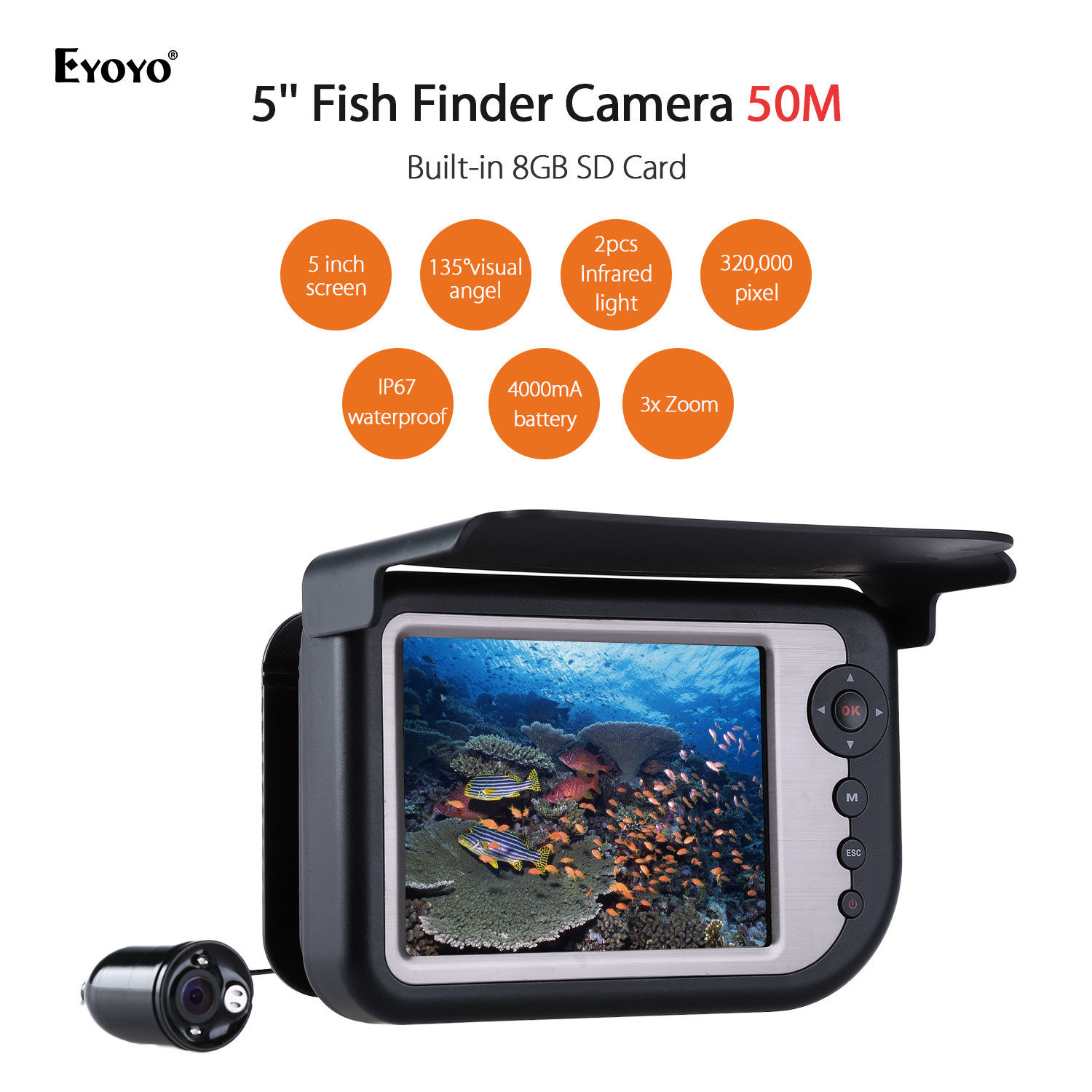 EYOYO LQ-5050DR 50M 5 Infrared Fishfinder Camera Underwater Fishing DVR LCD Monitor Colour Display 135degree Wide Angle