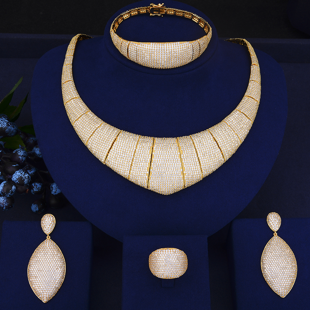 4PCS Luxury Geometric Shape Jewelry Sets Cubic Zirconia Inlaid Collar Necklace Earrings Bracelet Ring For Women Wedding 4pcs bridal fashion flower cubic zirconia inlaid wedding necklace dangle earrings bracelet ring jewelry set boucle d oreille