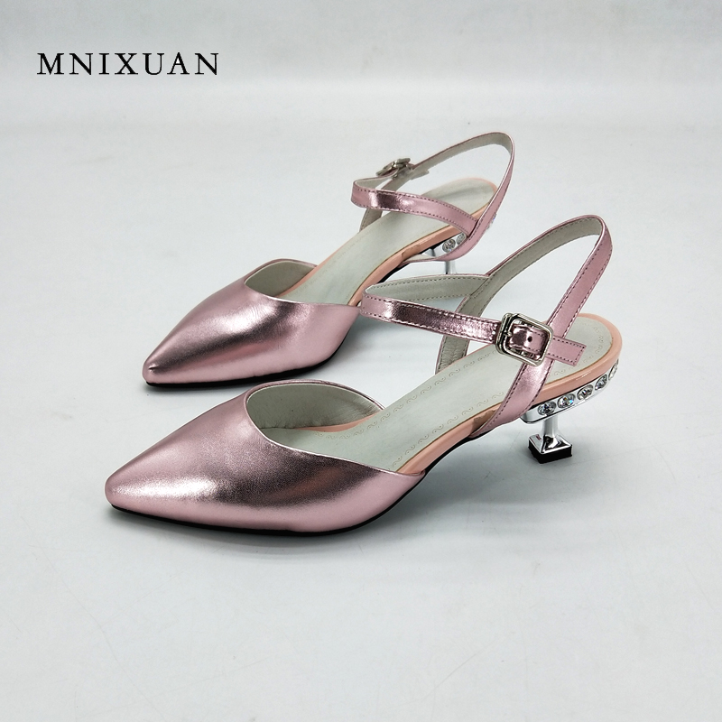MNIXUAN women shoes sandals real leather 2018 summer new fashion pointed toe gladiator crystal 5cm height thin heels big size 42 mnixuan women slippers sandals summer