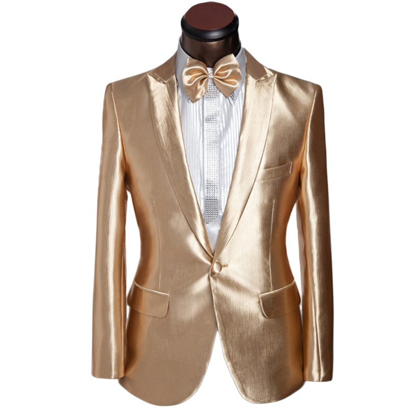 2016 New Arrival Men Suit Design Mens Slim Champagne Golden Tuxedo ...