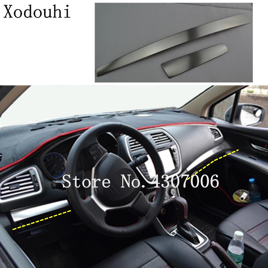 car cover trim stainless steel Middle console control dashboard panel 2pcs For Suzuki S cross scross