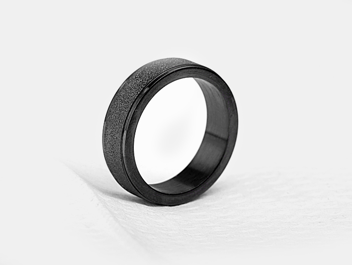 free shipping 6MM check pattern pure black 316L titanium steel matte side rings buddhist monastic discipline couples rings
