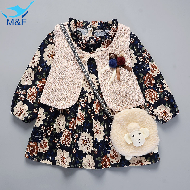M&F Spring Baby Girl Dress Tutu Princess Birthday Floral Vintage Dress Kids Long Sleeve Dress+Vest  Children Warm Think Clothing 2 10yrs girls dress kids princess dress long sleeve baby girl cute palace style blue and white floral embroidery spring 2017 new