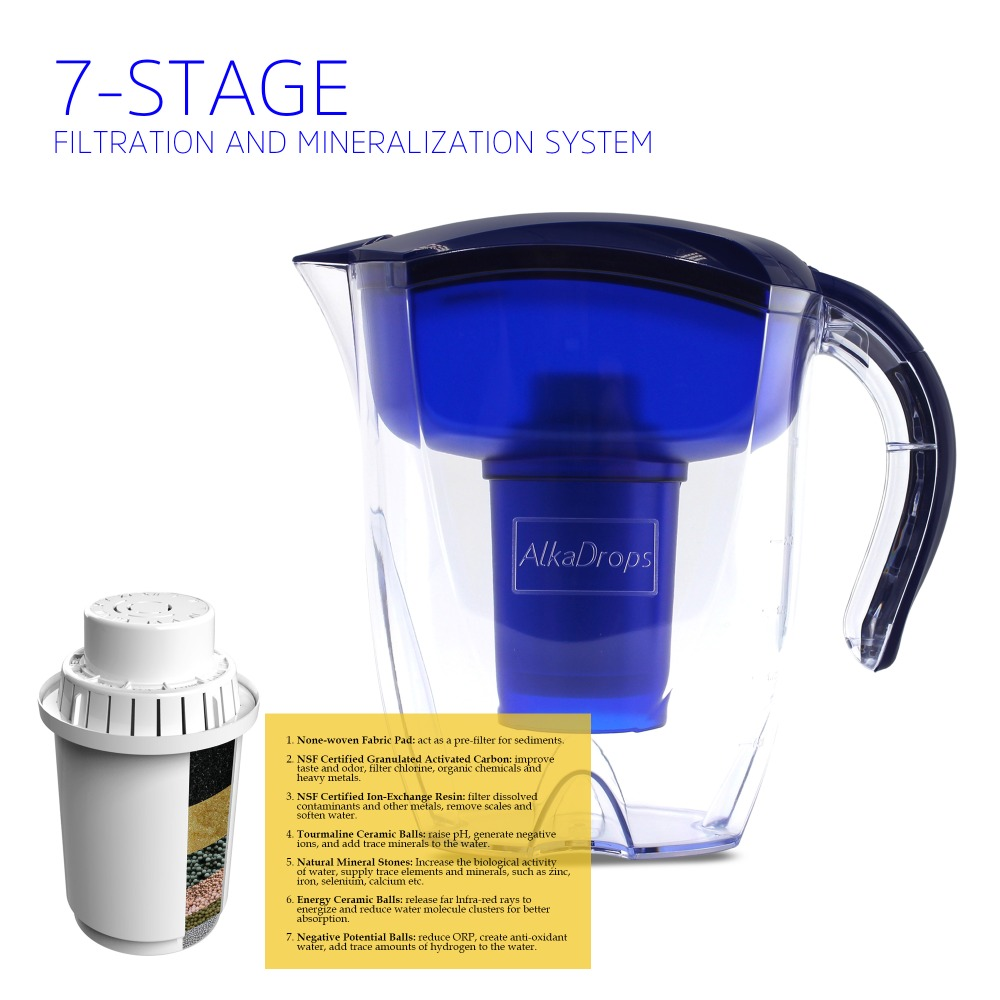 Alkaline Water Ioniser Filter Jug Carbon Activated 4 Seven Stage Filters