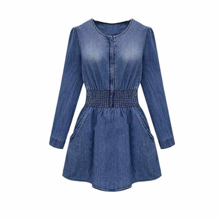 JAYCOSIN Летнее платье Весна Для женщин Длинные рукава тонкий Повседневное джинсы вечерние мини-платье Gloria jeans джинсовые платья роковой J