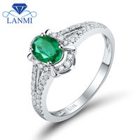 Wedding Promise Ring Oval 4x6mm 18K White Gold Natural Emerald Ring WU259