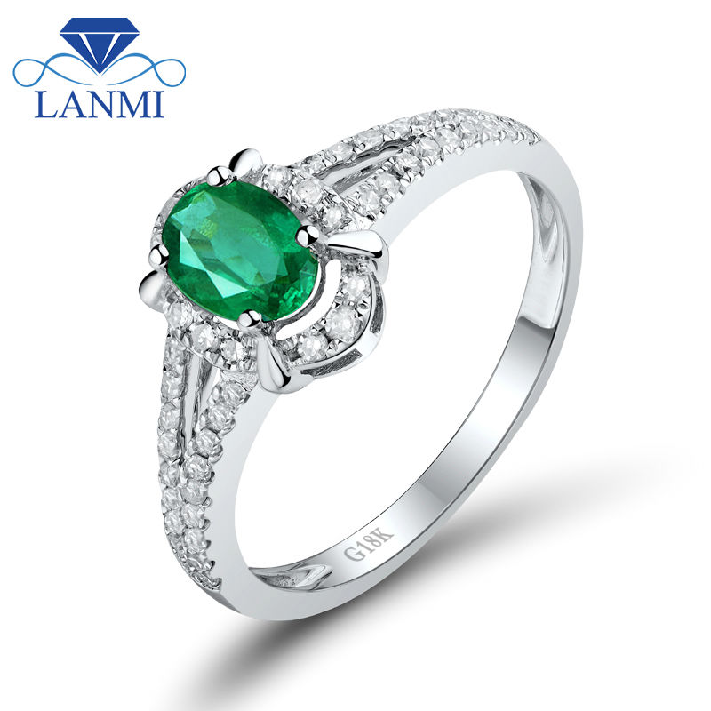 Solid 18K Real White Gold Natural Emerald Wedding Ring Promised Diamond Gemstone Fine Jewelry for Women Christmas Party Gift