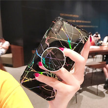 Shiny Holographic Laser Marble Case For iPhone XS MAX XS XR Soft Silicone Grip Stand Holder Case Cover For iPhone 6 7 8 Plus X