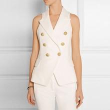 4b44fbbc8c675b Women s Blazers Vests Office Ladies Black White Professional Classic  Double-breasted Metal Lion Buckle Suit