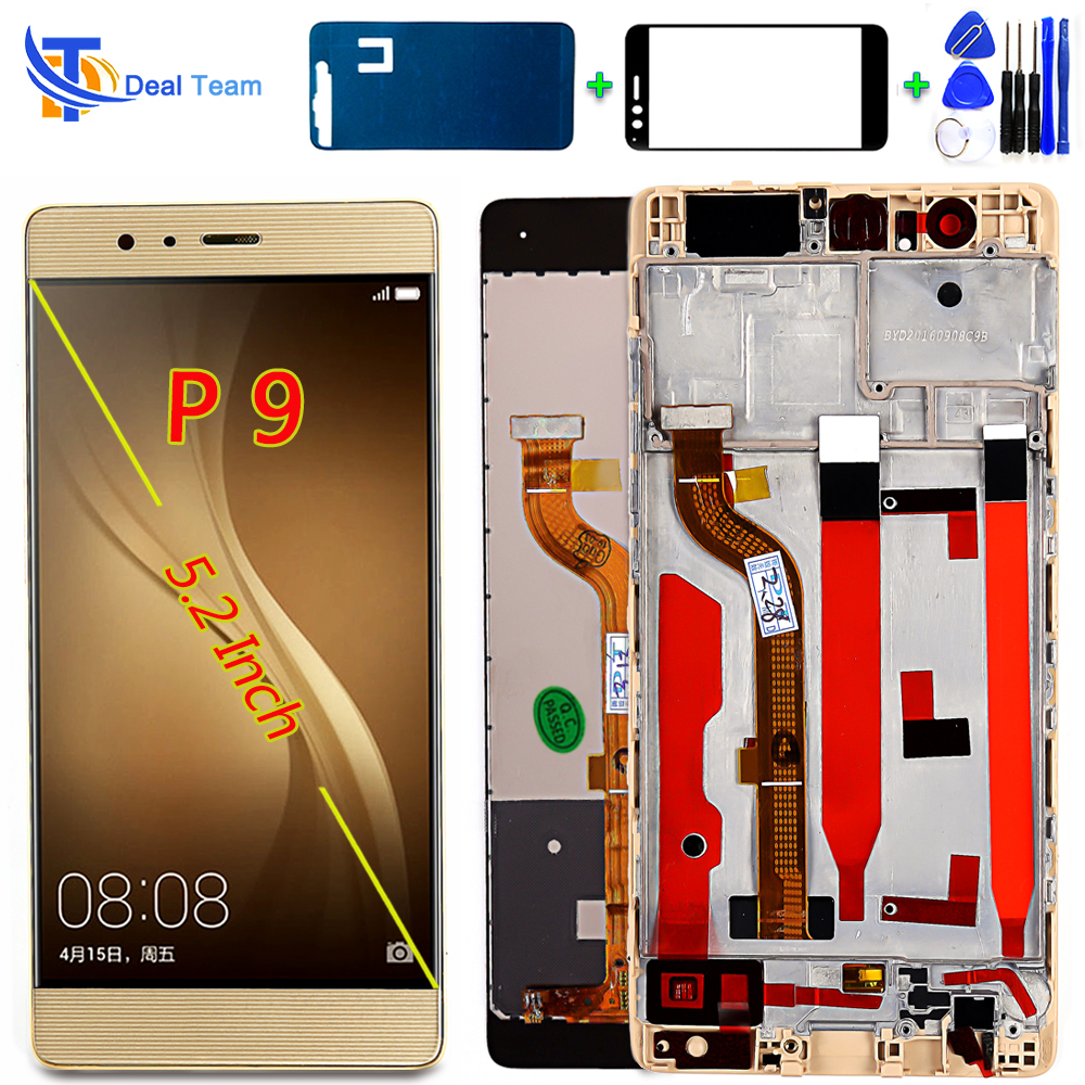 Deal Team LCD Display For HUAWEI P9 EVA-L09 EVA-L19 5.2 Inch Touch Screen Digitizer Assembly 1920*1080 Frame With Free Tools