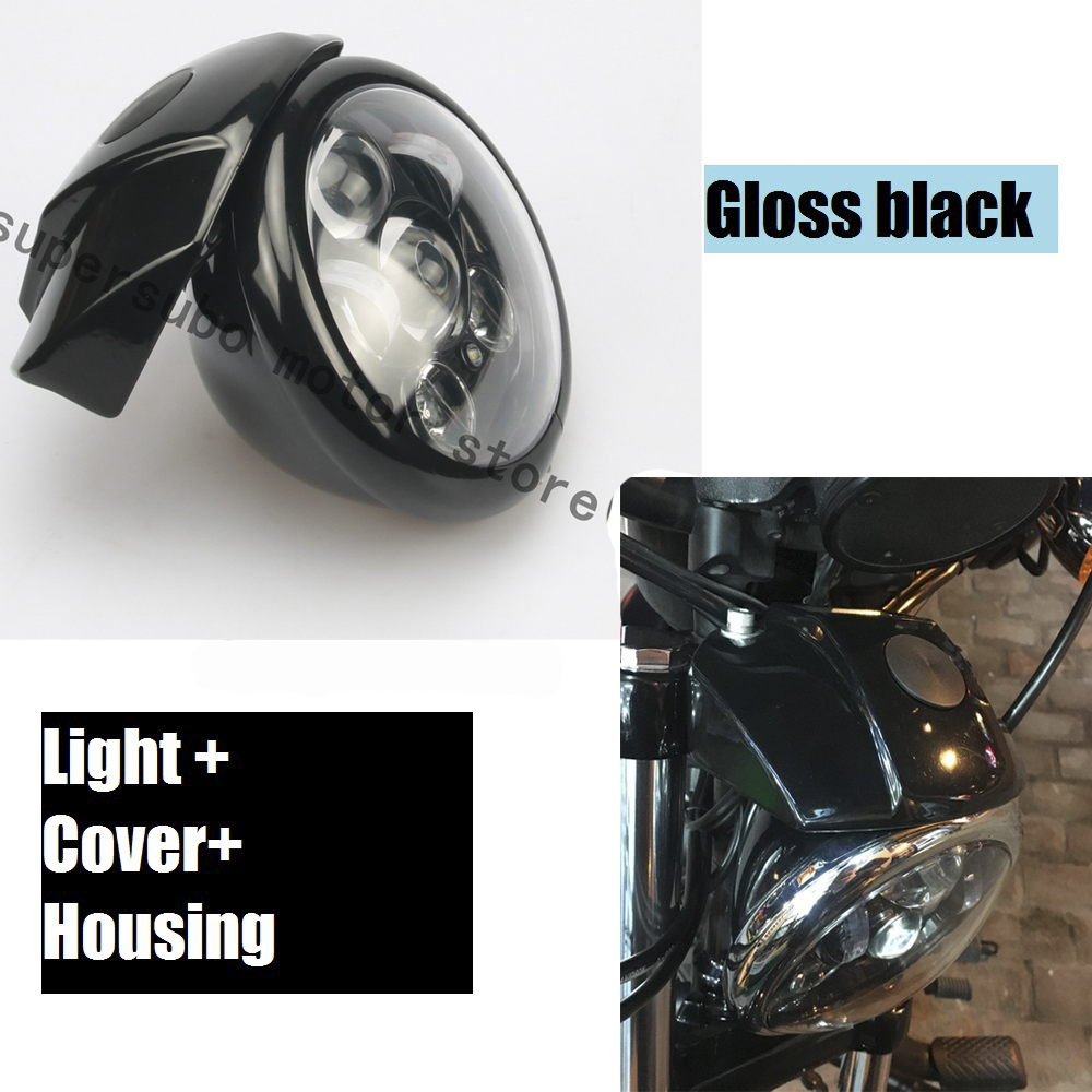 Motorcycle Black 5 3/4'' Daymaker Headlight W/ Visor Bracket For Harley XL883 1200 Sportster gloss black black headlight grill cover for harley sportster xl883 1200 04 up softail cover headlight covers 5 3 4