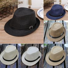 Children's Trilby Gangster Cap Lattice Pattern Beach Sun Straw Hat 2018 Sunhat Kids Child Cap Summer Cute(China)