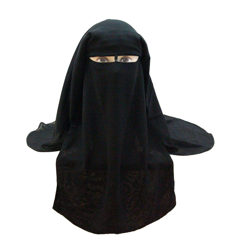 Muslim Bandana Scarf Islamic 3 Layers Niqab Burqa Bonnet Hijab Cap Veil Headwear Black Face Cover Abaya Style Wrap Head Covering