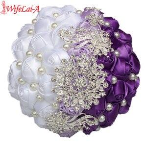 Image 3 - WifeLai EINE Lila Weiß Kristall Hochzeit Rose Blumen Diamant Brosche Hochzeit Bouquets de noiva Kristall Hochzeit Bouquets W240