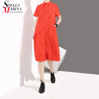 New 2018 Korean Style Summer Red Color Women Straight Shirt Dress Short Sleeve Girls Cute Casual