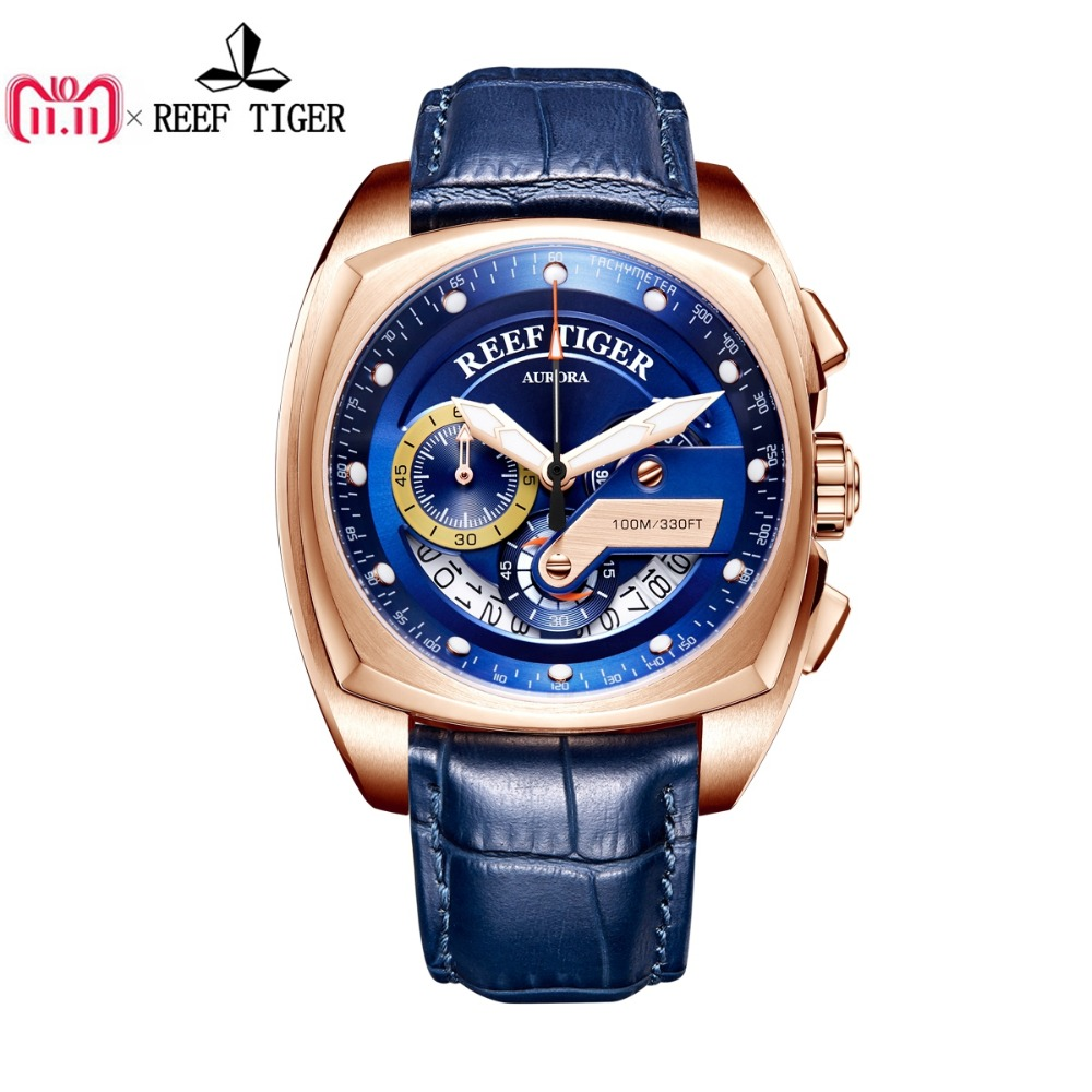 2018 Reef Tiger/RT Top Brand Sport Watch Men Luxury Rose Gold Blue Watches Leather Strap Waterproof Relogio Masculino RGA3363 casima 2018 new relogio masculino leather strap men s watch men gold waterproof 5bar watches top brand luxury calendar week