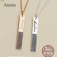 Amxiu Custom Fingerprint Name 925 Sterling Silver Pendant Necklace For Lovers Wedding Party Gifts Women Men Necklace Accessories