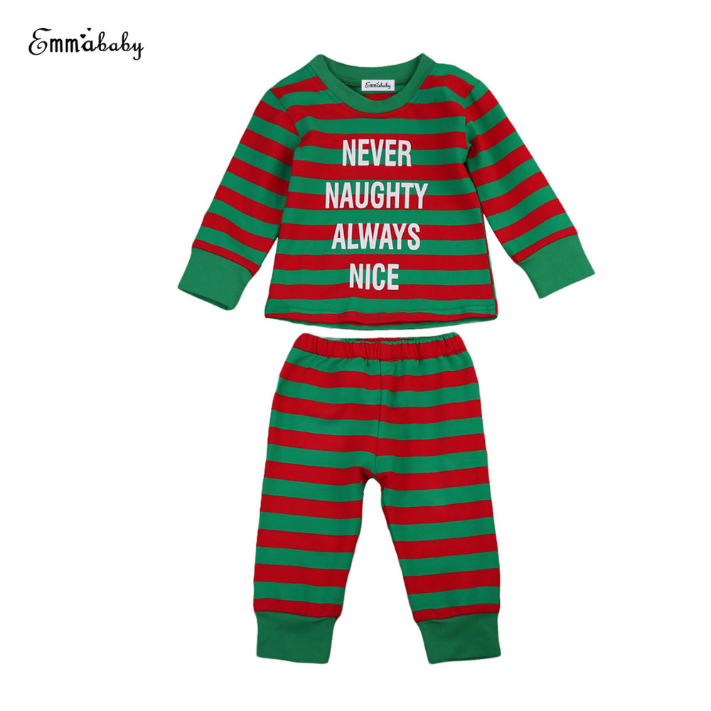 Baby Kids Boys Girls Stripes Xmas Clothing Set Child T-shirt Pants Pjs Sleepsuit Sleepwear Pajamas Nightwear ClothesSet