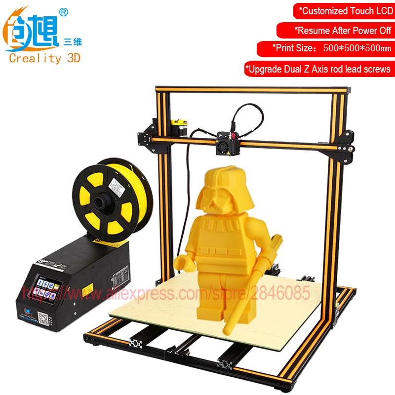 Touch LCD Anzeige Optional CREALITY 3D CR-10 Großdruck Größe 3d-drucker DIY Kit Aluminium Beheizte Bett + Glasplatte + freies Filamente