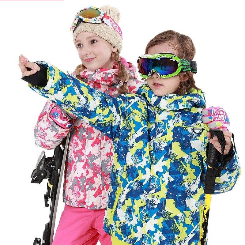 2018 garçons/filles ski costume imperméable coupe-vent neige pantalon veste un ensemble de Sports d'hiver enfant épaissi vêtements ski costume