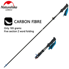 Naturehike 5 sections Foldable Ultra-light Adjustable Camping Hiking Walking Stick Carbon Fiber Outdoor Multi functional Sticks