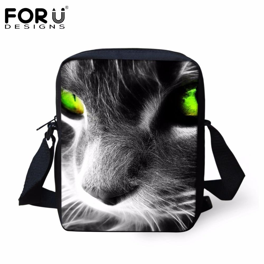 FORUDESIGNS Cool Black Cat Eyes School Bags Kids Book Bag Boys Little Shoulder Bag Child Mochila Girls Schoolbag Children's Gift