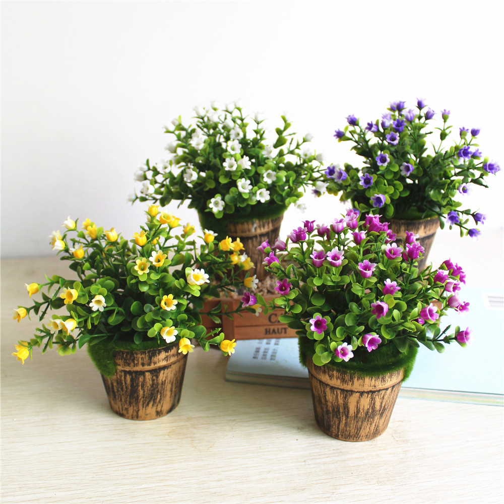 Artificial Flowers and Plants in Pot Wedding Party Decor Potted Fake Green Plant Simulation Plants Home Garden Decor Bonsai