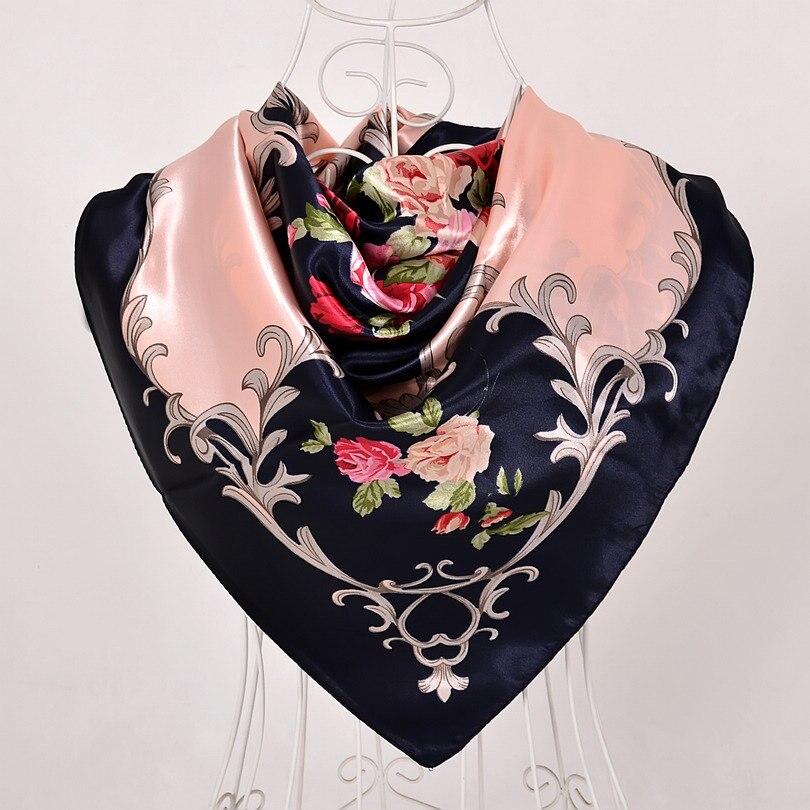 Дизайн женский Шелковый большой квадратный шелковый шарф из полиэстера, 90*90 см горячая Распродажа атласный шарф с принтом для весны, лета, осени, зимы - Цвет: navy blue pink 535