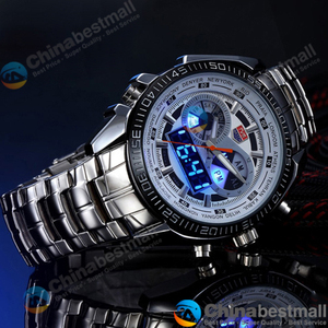 Image 2 - TVG Brand Luxury Stainless Steel Clock Digital Sports LED Watches Men 30M Dual Movements Waterproof Watches Relogio Masculino