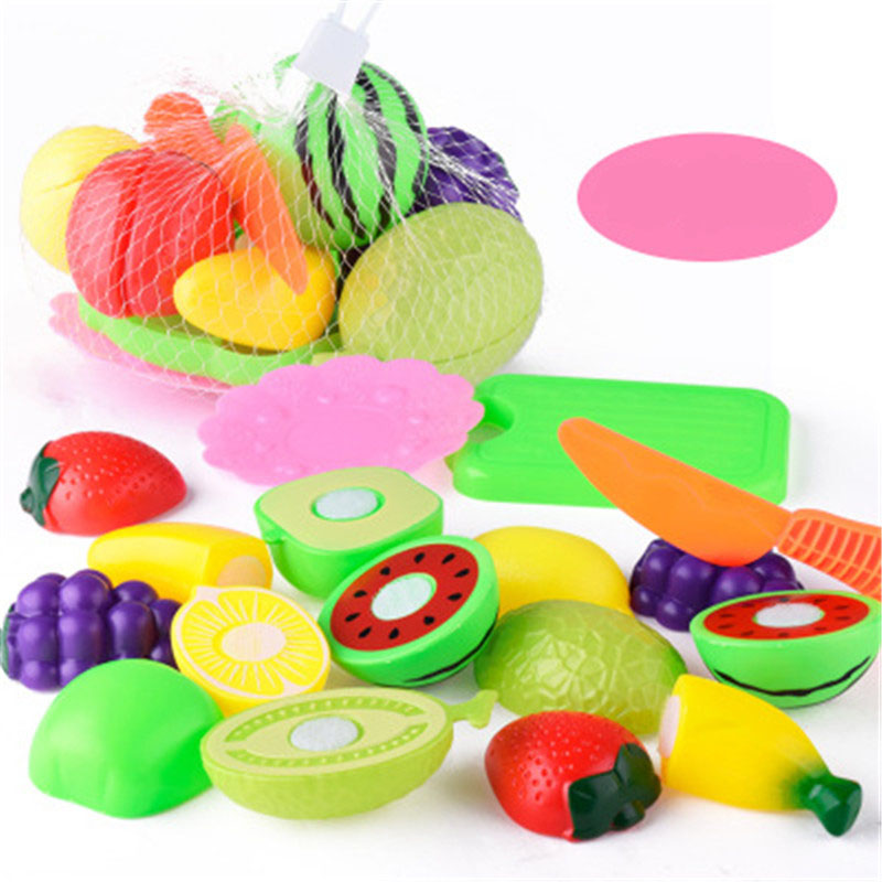 10pcs/lot Kitchen Toys Fruit Cutting food sets pretend play kids toy baby plastic early education toys for children girls gifts