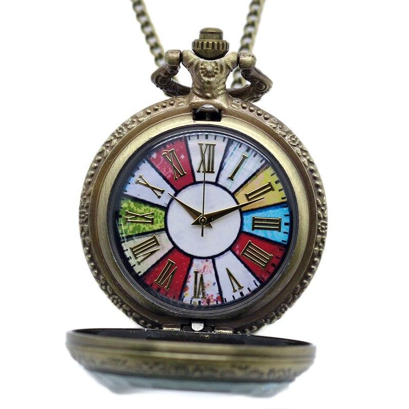 Uhren Ehrgeizig Antike Retro Bunte Zifferblatt Rom Anzahl Quarz Taschenuhr Frauen Männer Halskette Anhänger Kette Reloj De Bolsillo