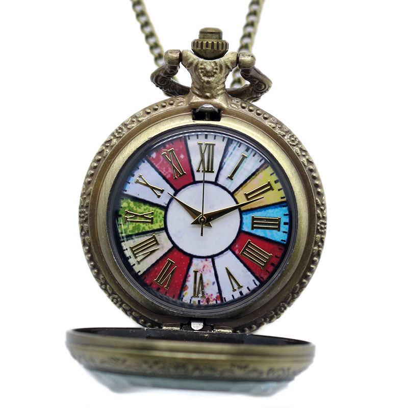Antique Retro Bronze Vintage Colorful Dial Rome Number Quartz Pocket Watch Women Men Necklace Pendant Chain reloj de bolsillo otoky montre pocket watch women vintage retro quartz watch men fashion chain necklace pendant fob watches reloj 20 gift 1pc