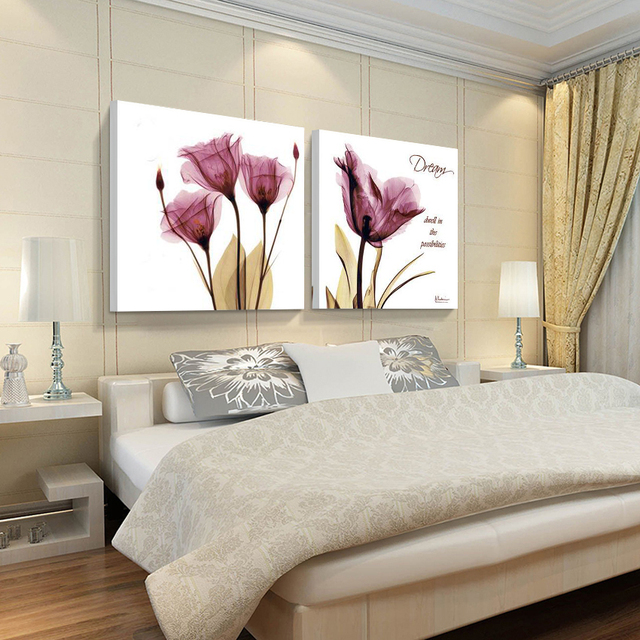No Frames 2pcs Canvas Wall Art Pictures For Living Room The Paintings Purple