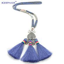 Ожерелье ручной работы с подвесками кисточками креативное уникальное