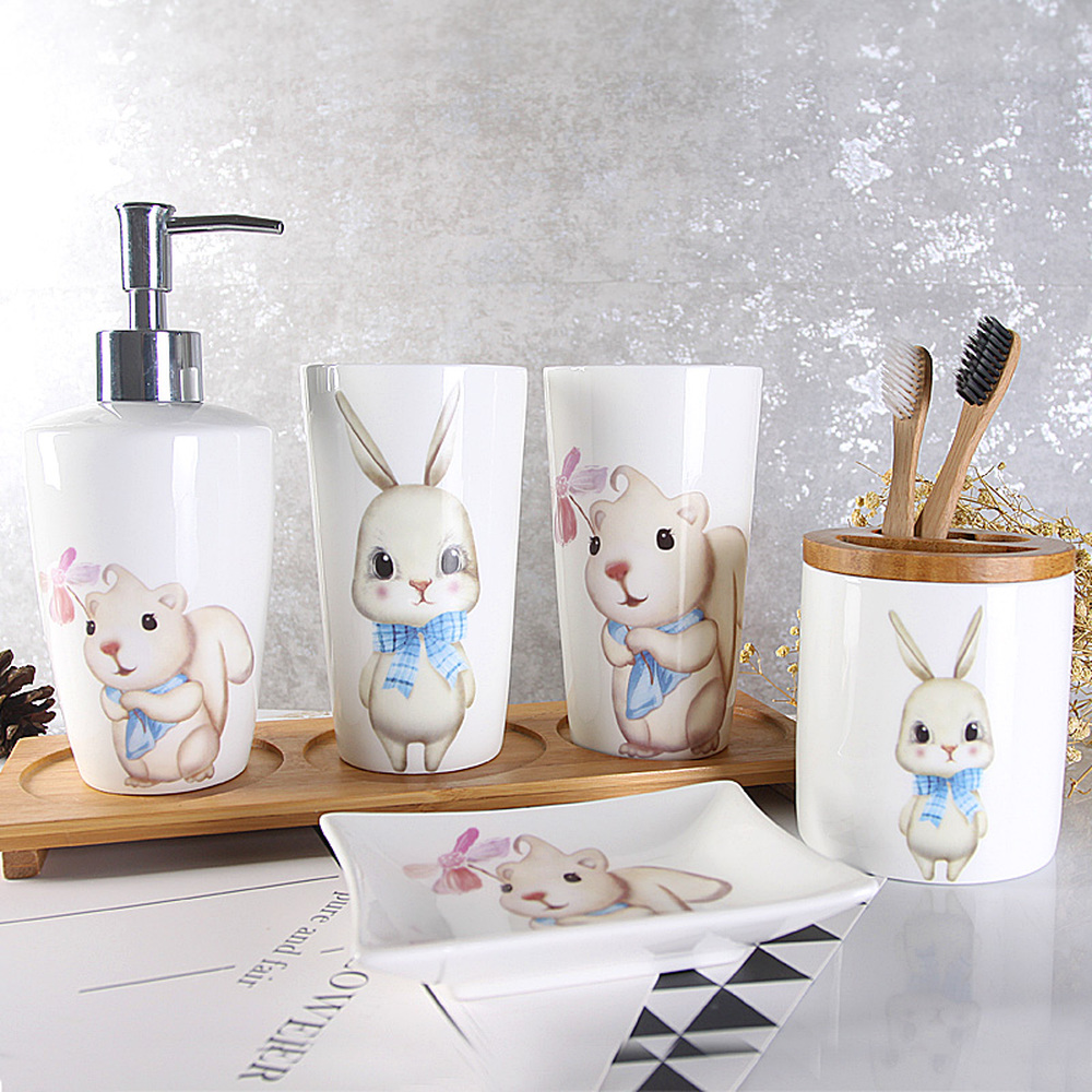 Bath set bathroom five-piece wash set brush tooth cup mouth cup tooth set ceramic toilet lo83159 bathroom five piece bathroom supplies wash set wash cup brush teeth mouth cup married newlywed housewarming gift lo723405