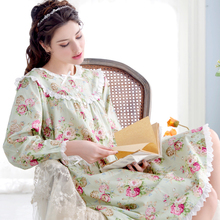 2016 New Princess Floral Nightdress Female Full Sleeve Pure Cotton Nightgowns Lace Flower Knee-length Women Sleepshirts 9672711