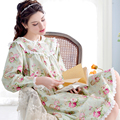 2017 New Princess Floral Nightdress Female Full Sleeve Pure Cotton Nightgowns Lace Flower Knee-length Women Sleepshirts 9672711