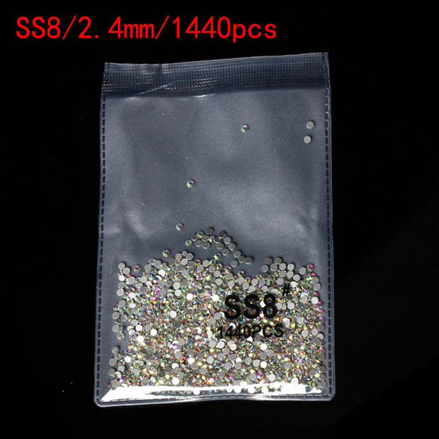 Super Glitter 1440pcs SS3-SS10 Flatback Multicolor Non HotFix Rhinestones For Nail Art Decoration Shoes And Dancing Decoration