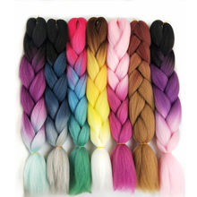 "1pack 24"" 100G/PC Jumbo Braids Crochet Hair Extensions Pervado Hair Synthetic Yaki Braiding Hair Bulk Green Purple Ombre Style(China)"