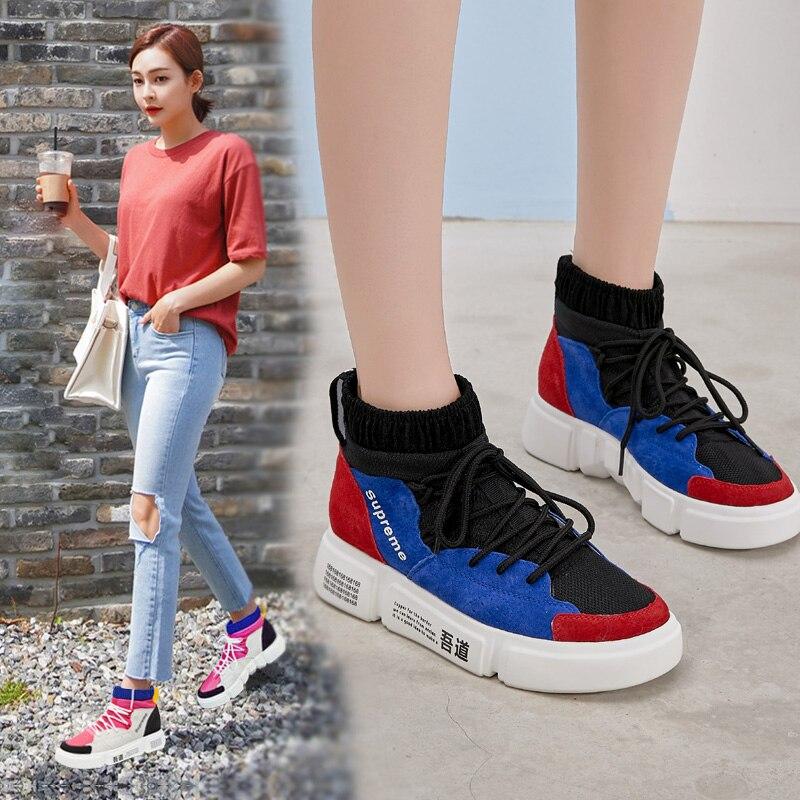 La Léger Chaussures Coréenne Haute 2 Respirant Surface Littéraire Sneakers Version 3 Fan Couleur Étudiant Maille top 1 Course De Femme xB60Wpq