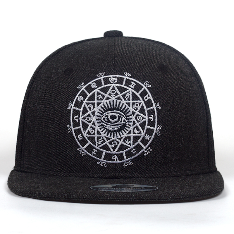 2018 New Fashion Harajuku Men Womens Casual Snapbacks Black Grey Eye Embroidery Cap Hip Hop Hats Baseball Caps Garros