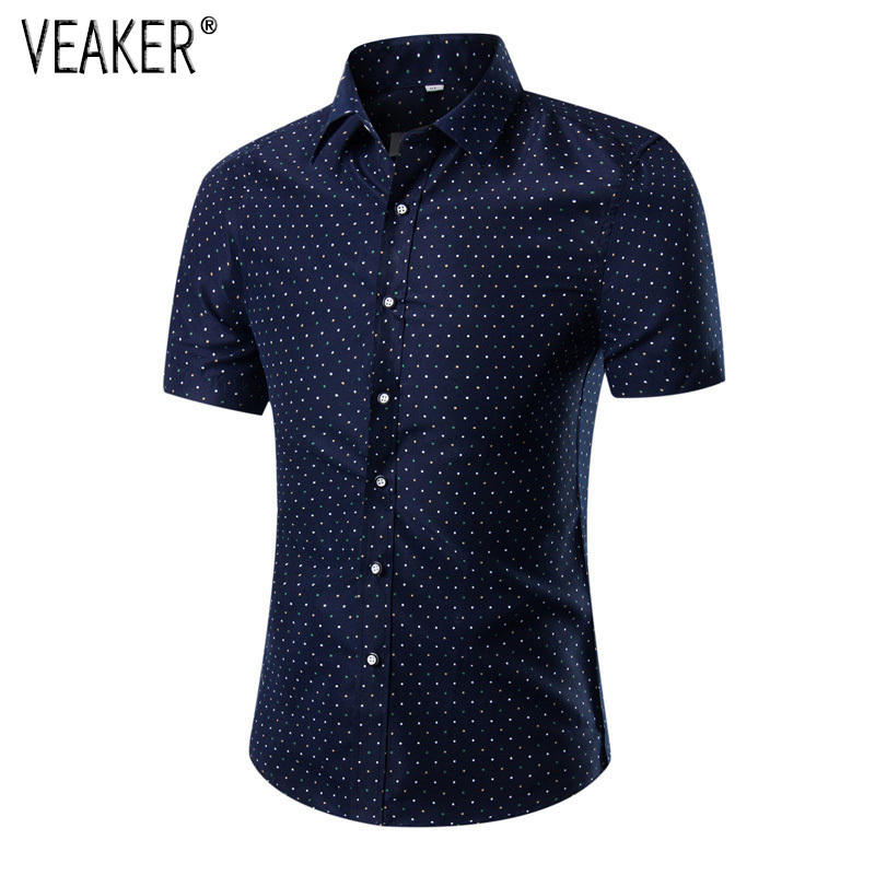 2019 New Men's Summer Shirts Polka Dot Printed Slim Fit Short Sleeve Shirts Male Casual Tops Plus Size 5XL