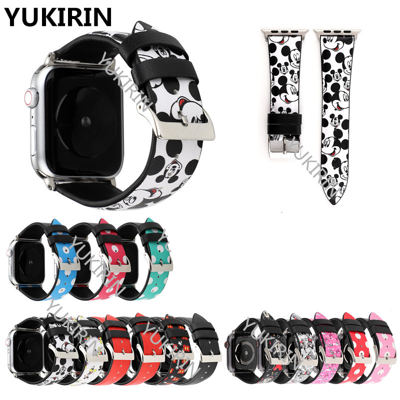 YUKIRIN Dots Minnie Mickey Genuine Leather Band For Apple Watch Series 4 3 2 1 Strap For IWatch 38 42mm 40 44mm Mouse