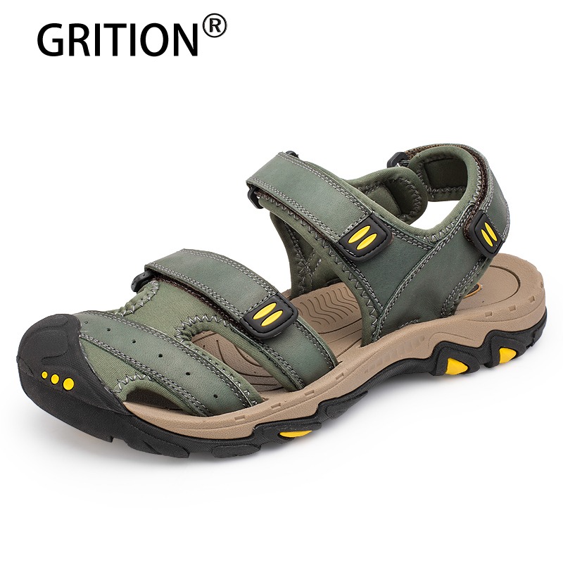 GRITION 2018 New Arrival Men Sandals Genuine Leather Summer Outdoor Male Shoes Walking Leisure Shoes Large Size Fashion Sandals new arrival summer men sandals leisure solid waterproof male outdoors slippers pu leather fashion slip on sandals w1 35
