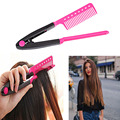 Top Selling 2016 New Fashion Great Pink/Blue For Salon Folding Hairdressing V Straightener Plastic Hair Beauty Styling Comb Tool
